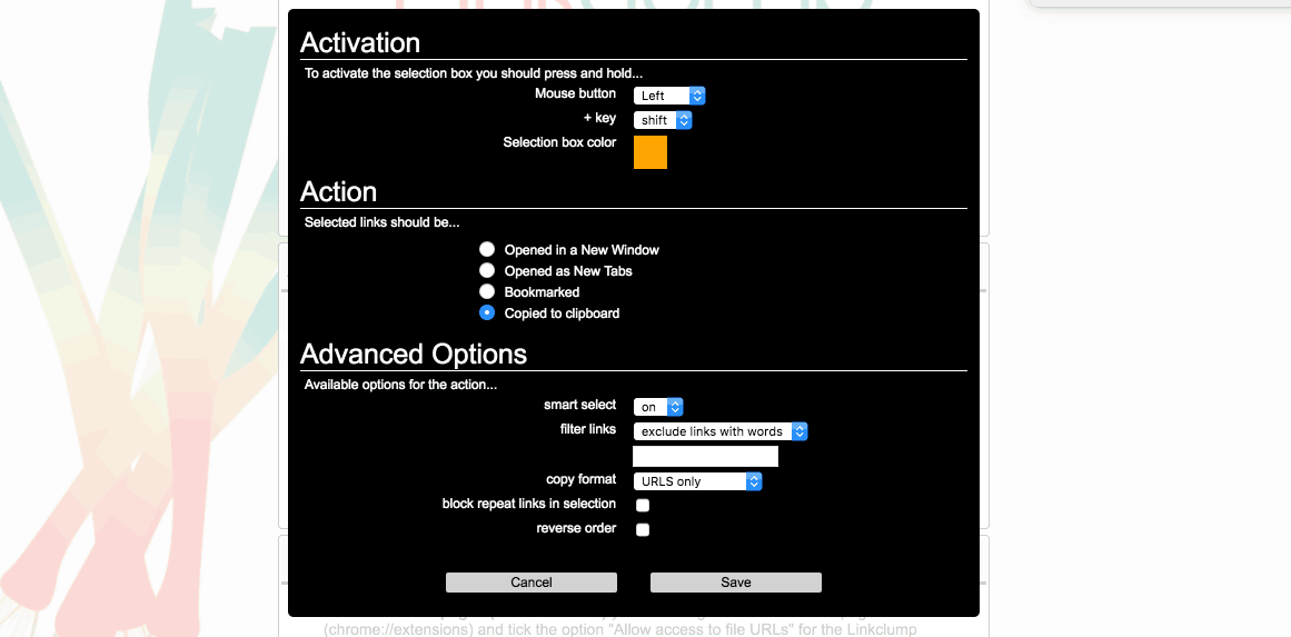 linkclump options setup