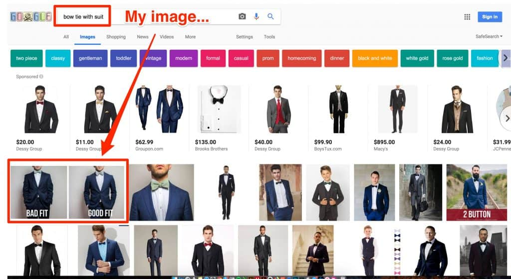 alt text example in image results