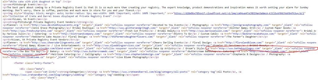 html of nofollow link example seo