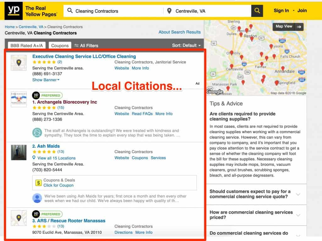 local citations example SEO